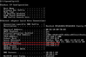 find router ip address default gateway